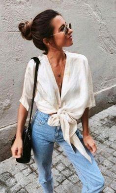 Camisa com nó e jeans // #cantrellewoman #cantrelledesign