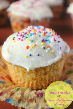 Vegan Yellow Cupcakes with Vegan Buttercream Frosting