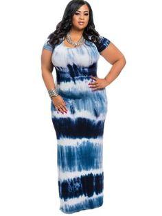 Plus Size Short Sleeve Gradient Women's Maxi Dress