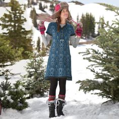 LAPLAND JACQUARD SWEATER DRESS--Over leggings, with tights, at work, on the weekends, can you imagine where this jacquard knit dress wouldn't be a hit