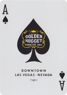The Ace of Spades from Vintage Golden Nugget Hotel & Casino, Las Vegas, Playing Cards.