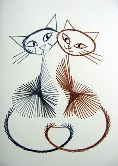 Catsparella: Beautiful Hand Stitched Cat Greeting Cards by Boo-Teeq