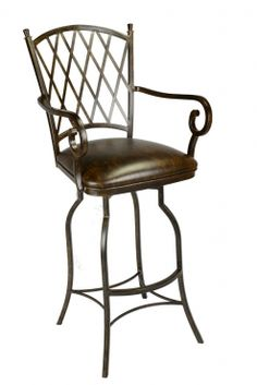 Curving lattice back design a plush fortable seat and a solid metal frame make this the perfect stool for a kitchen or bar area