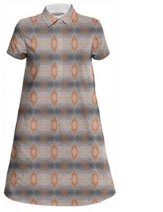 Bold, geometric print fitted top, swingy bottom shirt dress. 100% cotton. Manufactured by Print All Over Me, designed by Megan Alexander of Pig Street Works. fashion, bohemian, pattern, bold, color, texture, apparel, dress, summer, boho chic, print, indie, geometric, custom, blue, orange, shine