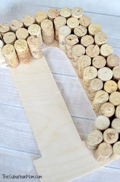 DIY Wine Cork Monogram Craft - TheSuburbanMom You are in the right place about DIY Projekte schule H Wine Cork Monogram, Wine Cork Letters, Wine Cork Art, Cork Board Wine Corks, Wine Craft, Wine Cork Crafts, Wine Bottle Crafts, Champagne Cork Crafts, Wine Cork Projects