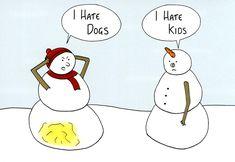 Funny Christmas Cards - Snowmen - I Hate Dogs (and Kids) Christmas Card Sayings, Christmas Jokes, Christmas Ideas, Funny Greeting Cards, Funny Christmas Cards, Christmas Quotes Funny Humor, Funny Snowman, Snowman Jokes, Snowman Cartoon