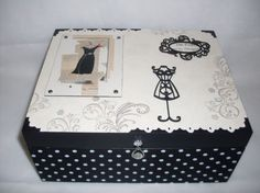 SDC10441 Painted Boxes, Hand Painted, Fabric Covered Boxes, Decoupage Tutorial, Altered Boxes, Paris Theme, Diy Pins, White Box, Box Art