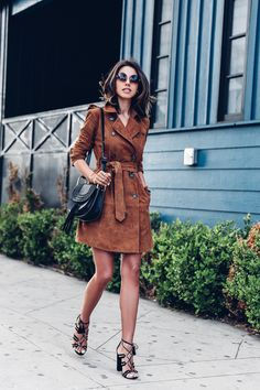 Love wearing trench coats as dresses. Currently sporting brown suede trench coat from @bananarepublic