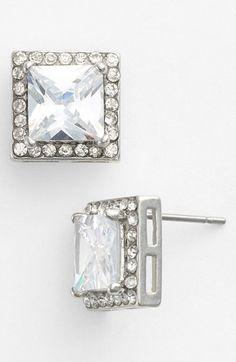 Junior Women's BP. Crystal Square Stud Earrings - Crystal/ Silver