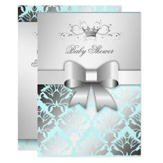 7afb169d1a1f Shop 311 Damask Shimmer Bow Boy Blue Baby Shower Invitation created by  Personalize it with photos   text or purchase as is! My Pinterest Wedding