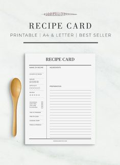 Recipe Card | Printable Recipe Cards Recipe Sheet Printable Recipe Card Template A4 US Letter Size Recipe Template Recipe Binder Recipe Book#binder #book #card #cards #letter #printable #recipe #sheet #size #template