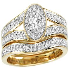 Yellow Gold Halo Shape Style With Round Center Diamond 0.20ct And Round Diamonds Bridal Ring Set (0.60ct. tw) - 23154603