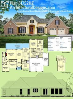 Architectural Designs French Country House Plan 51752HZ gives you 3 beds on the main floor and has a bonus room over the garage with a full bath. Over 2,400 square feet of living. Ready when you are. Where do YOU want to build?