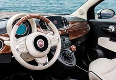 Look at all the details that characterize the Limited Edition of the new Fiat 500 Riva with a totally new nautical look. Fiat 500 Cabrio, Fiat 500c, Ford Mustang Car, Ford Shelby, Ford Mustangs, Riva Boot, Vespa, Fiat 500 Interior, Rolls Royce