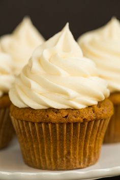 Pumpkin Cupcakes with Cream Cheese Frosting - A perfect fall treat!