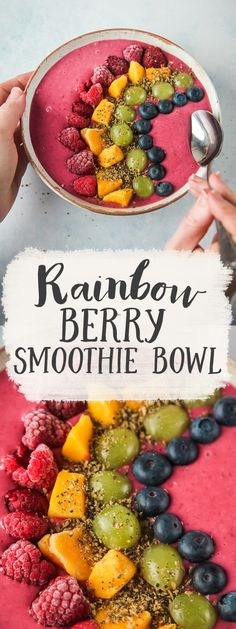 Easy, delicious and healthy smoothie bowl, bursting… Rainbow Berry Smoothie Bowl. Easy, delicious and healthy smoothie bowl, bursting with colour and flavour! Fruit Smoothies, Raspberry Smoothie, Easy Smoothies, Rainbow Smoothie Recipes, Clean Eating Snacks, Healthy Snacks, Healthy Recipes, Best Smoothie, Exotic Food