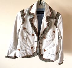 Authentic DISQUARED2 Women's Beige Cotton Jacket Size 42 / US 8 #DISQUARED #Blazer
