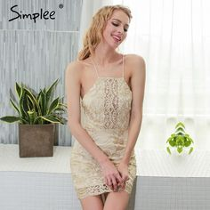 Good price Simplee Halter off shoulder summer dress women Hollow out party lace dresses 2017 Beach sexy dress robe vestidos just only $18.99 with free shipping worldwide  #womandresses Plese click on picture to see our special price for you