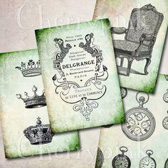 set of 4 Victorian Ephemera cards