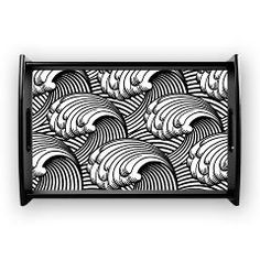 Japanese Wave design in Black and White Coffee Tra> Exquisite Japanese wave design > Victory Ink Tshirts and Gifts