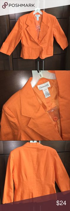 """NEW! Orange blazer Pretty blazer with collar and 1 button closure. Front pocket detail. 55% linen, 45% cotton. 22-1/2"""" shoulder to hem. Comes with extra button. BRAND NEW NEVER WORN, price tag missing but button tag still on. Chadwicks Jackets & Coats Blazers"""