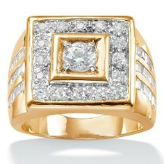 Mens 2.18 TCW Round Cubic Zirconia 18k Gold Yellow Over Sterling Silver Bezel-Set Square Ring Palm Beach Jewelry. $149.99