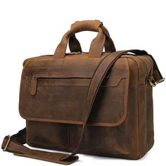New Crazy Horse Leather Shoulder Briefcase 16 Inch Laptop Bag online shopping - Topfavorfashion Leather Laptop Backpack, Leather Briefcase, Black Backpack, Laptop Bag, Luggage Sets, Travel Luggage, Michael Kors Fulton, Types Of Bag, Classic Leather