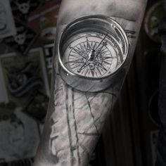 Realistic 3D Compass & Map on Guys Forearm | Best tattoo ideas & designs