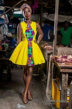 ankara stil Its African inspired. African Dresses For Women, African Print Dresses, African Print Fashion, Africa Fashion, African Attire, African Wear, African Fashion Dresses, African Women, African Prints