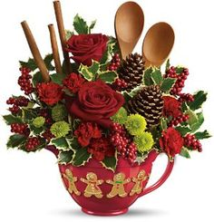 Christmas Bouquet::In an Oversized Mug. So Sweet for the Kitchen! Would be great as a component of a larger display.  by Teleflora, via Flickr