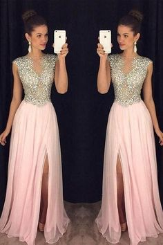 A Line Round Neck Pink Chiffon Split Long Prom Dresses with Beading  by MeetBeauty, $140.05 USD