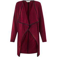 Miss Selfridge Burgundy Waterfall Cardigan (£18) ❤ liked on Polyvore featuring tops, cardigans, burgundy, drapey cardigan, long sleeve cardigan, long sleeve tops, jersey cardigan and loose cardigan