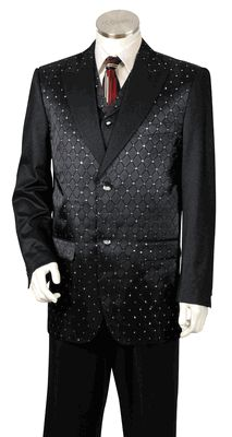 Mens Designer Entertainer Gorgeous Diamond Cut Detail Rhinestone Tuxedo Suit & Vest Black # 8368