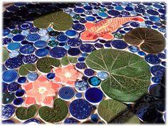 ceramic tile koi pond, koi pond ceramic tiles - ceramicist artist who sells handmade tiles!  Clay base: porcelain/stoneware mix.