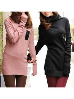Faux Leather Pocket Knit Long Sweater