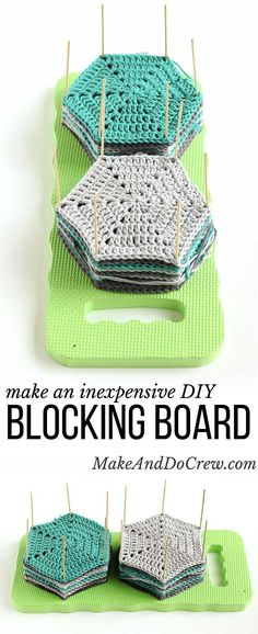 Learn how to block crochet or knit hexagons or granny squares with this incredibly easy and inexpensive DIY blocking board (made from a garden kneeling pad) at MakeAndDoCrew. Crochet Tools, Knit Or Crochet, Crochet Motif, Crochet Crafts, Crochet Stitches, Crochet Patterns, Learn Crochet, Crochet Tutorials, Diy Crochet Tutorial