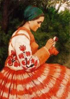 """Hungarian Artist, Oszkar Glatz,  """"Young Lady Making A Doll"""" Such A Colorful Painting."""