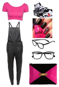 """Pink And Black"" by shantiboo32 ❤ liked on Polyvore featuring moda, Designers Remix, Ray-Ban y Marie Marot"