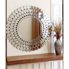 Top Product Reviews for Abbyson Radiance Round Wall Mirror   Overstock.com   15588665 Home Decor Wall Art, Home Decor Furniture, Living Room Decor, Diy Home Decor, Round Wall Mirror, Wood Mirror, Mirror Art, Entry Mirror, Wall Mirrors