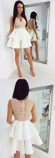 Short white homecoming dresses, simple lace party gowns,