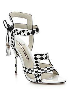 Yay!  ~ Gorgeous on!  #SaksFifthAvenue, #SofiaWebster, #Saks, Sophia Webster Poppy Checker-Print Leather Sandals