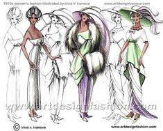 The evolution of fashion from Nouveau to the Art Deco era 20th Century Women, 20th Century Fashion, Dress Sketches, Fashion Sketches, Fashion Illustrations, Drawing Fashion, Edwardian Fashion, Vintage Fashion, Edwardian Era