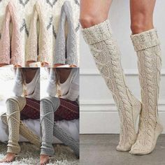15683bd099aef Womens Girl Winter Cable Knit Over Knee Long Boot Thigh-High Warm Socks  Leggings #