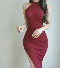 High Fashion Outfits, Curvy Outfits, Classy Outfits, Sexy Outfits, Tight Dresses, Short Dresses, Red Colour Dress, Pantyhose Fashion, Vestido Casual