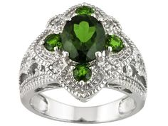 2.65ctw Russian Chrome Diopside And White Topaz Sterling Silver Ring