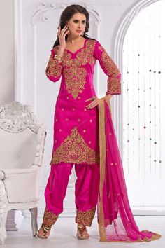 #AndaazFashion Présente Art soie rose Salwar Suit et Dupatta http://www.andaazfashion.fr/salwar-kameez/salwar/pink-art-silk-salwar-suit-and-dupatta-dmv13772.html