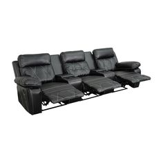 Contemporary Theater Seating. 2 Recliners with Recessed Levers. Middle Recliner with Pull Handle.