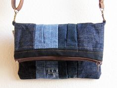 Casual Friday. Small denim bag with brown adjustable or detachable strap. Upcycled and recycled denim and upholstery material.. CHF35.64, via Etsy.
