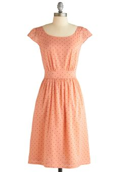 grey dots on peach, cinched waist, halfcone sleeves    http://www.modcloth.com/shop/dresses/get-what-you-dessert-dress-in-polka-dots