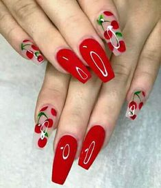 15 Cute Nail Art Designs to Welcome Summer - Cute 🍒❤🍒 Trendy Stunning M. - My Pins 15 Cute Nail Art Designs to Welcome Summer – Cute 🍒❤🍒 Trendy Stunning Manicure Ideas For Short Acrylic Nails Design - Red Acrylic Nails, Red Nail Art, Blue Nail, Purple Nails, Acrylic Art, Bright Summer Acrylic Nails, Bright Nail Art, Bright Red Nails, White Nail